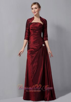 Burgundy Ruch Taffeta Mother Of The Bride Dress