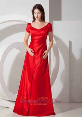 Scoop Short Sleeves Layers Red Prom Dress