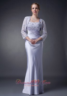 Appliques Lilac Straps Mother Of The Bride Dress