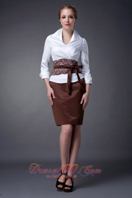 Belt Collar Lace Sleeves White Brown Mothers Dresses