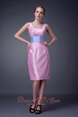 Baby Pink Mother Of The Bride Dress Scoop Neck Sash