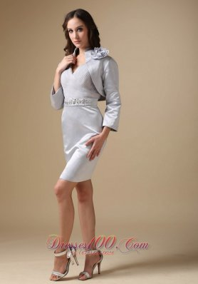 Silver V-neck Beading Knee-length Mother Of The Bride Dress