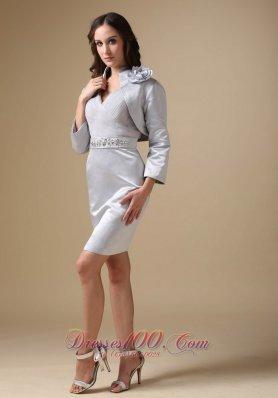 Silver V-neck Beading Knee-length Mother Of The Bride Dress