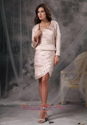 Satin Ruch Knee-length Mother of the Bride Dress