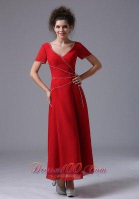 Sequin Short Sleeves V-neck Mother of the Bride Dress