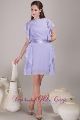 Bateau Sash Ruch Lilac Mother Of The Bride Dress