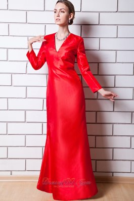 V Neck Red Sleeves Column Mother Of Bride Dress