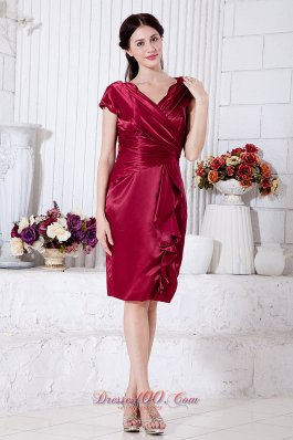 Mother Of The Bride Dress Ruch Wine Red V Neck