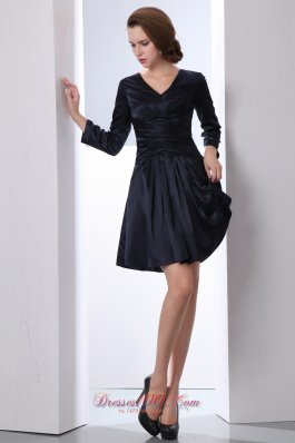 Black V-neck Mini-length Sleeves Mother of the Bride Dress