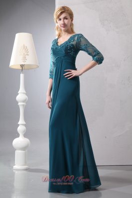 V-neck Lace Sleeves Chiffon Mother of The Groom Dresses