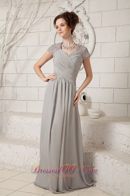 Grey Column V-neck Prom Chiffon Dress