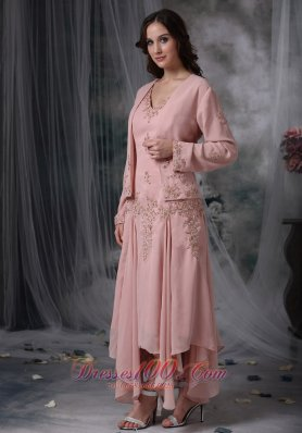 Baby Pink Mother Bride Chiffon Dress V-neck