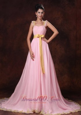 Pink Court Train Appliques Bowknot Prom Dress