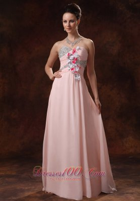 Beaded Decorate Asymmetrical Floral Trimmed Prom dress