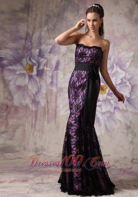 Purple and Black Mermaid Lace Belt Brush Prom Dress
