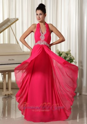Halter Waist Appliques Chiffon Overlay with Slit Prom Gown