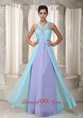 Aqua Blue and Lavender Straps Beading Chiffon Prom