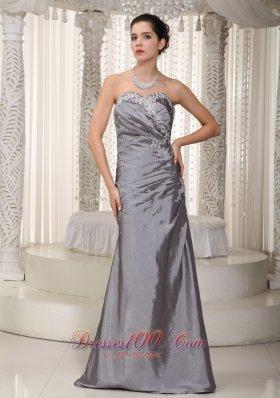 Column Elastic Woven Satin Appliques Prom Dress 2013