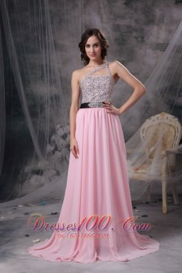 Asymmetrical One Shoulder Beaded Bodice Prom Gown