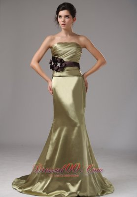 Prom Dress Mermaid Olive Green With Black Sash