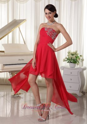 High-low Homcoming / Cocktail Dress Beading Decorate Chiffon