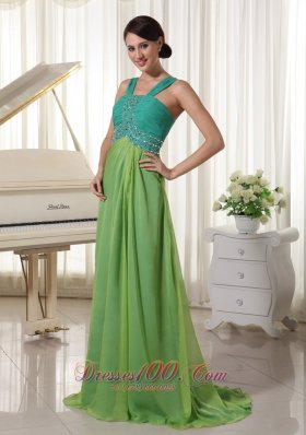 Brush Train Turquoise and Spring Green Prom Dress