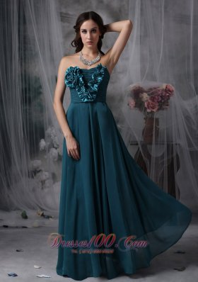Bridesmaid Dress Floral Trimmed Decorated Front Chiffon