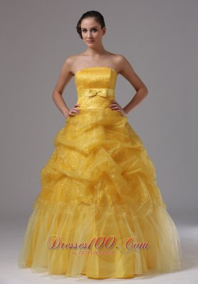 Gold and Sashes Military Ball Gowns Layered Ruffles