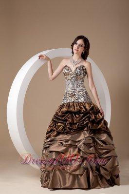 Taffeta and Leopard Pick-ups Quinceanera Dress 2013