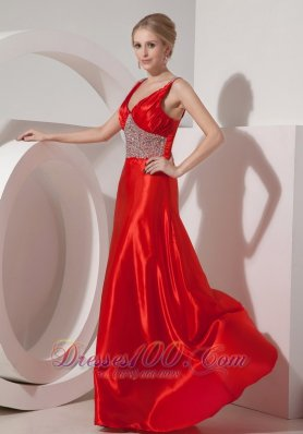 Beaded Straps Deep Neck Silk Like Satin Prom Dress