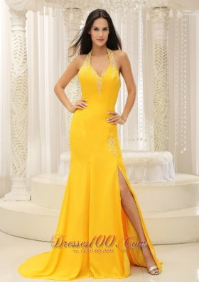 High Slit Halter Top Yellow Brush Train Evening Dress