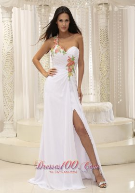 2013 Appliques Dress for Prom Ruched High Slit