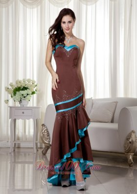 Brown and Blue Mermaid Prom Evening Dress with Asymmetric