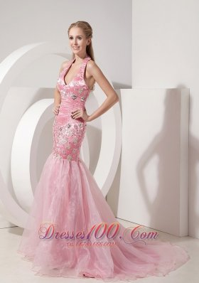 Evening Dress Mermaid Halter Appliques and Beaded Decorated