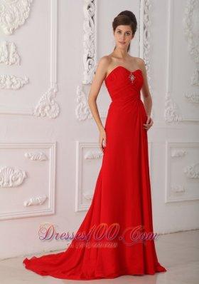 2013 Red Column Brush High Slit Prom Dress