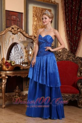 Column Appliques Prom Dress With Pleating