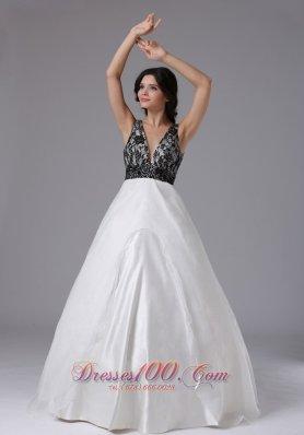 Black Lace White Organza Deep Neck Prom Dress
