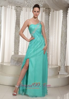 Turquoise High Slit Prom Dress For Party Organza Overlay
