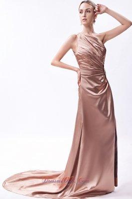 Asymmetrical One Shoulder Prom Dress Beading Court Train