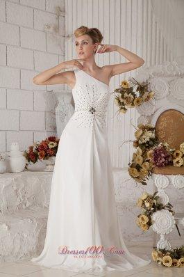 Asymmetrical One Shoulder Brush Train Beading Prom Celebrity Dress