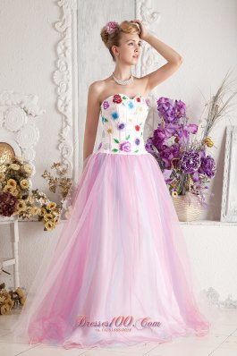 Colorful Appliques Bodice Tulle Overlay Prom Gowns