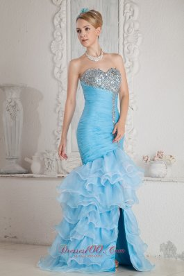 Mermaid High-low Split with Ruffles Prom Dress
