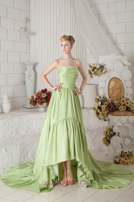 Chapel Train Ruch Prom Dress 2013 Yellow Green