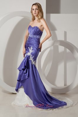 Purple and White Elastic Wove Satin Wedding Dress Court Train