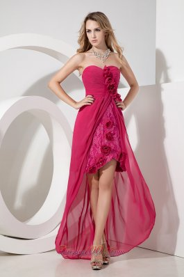 Hand Flowers Chiffon and Lace High-low Prom Dress