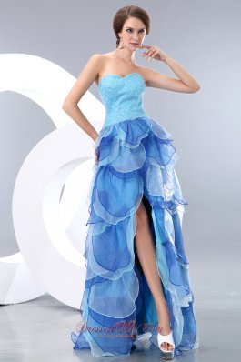 High-low Organza Homecoming Dress Pieces Petals Tiered