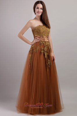 Rust Red Empire Tulle Floral Appliques Prom Dress