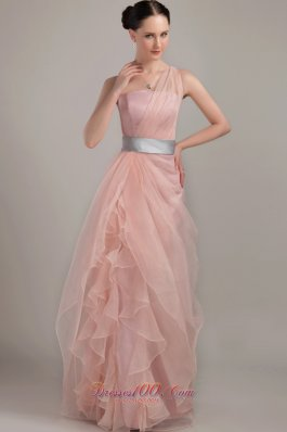 Column One Shoulder Ruffles Prom Dress with Waistband