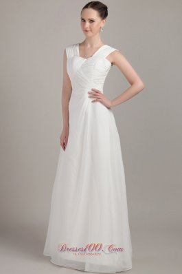 Wide Straps Empire Chiffon Ruch Bridesmaid Dress 2013