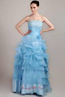 Taffeta and Organza Beaded Bust Prom Dress Ruffles